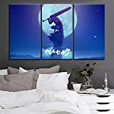agwKE2 Arte de Pared decoración del hogar Anime Berserk Guts Moon Shadow Sword Warrior Picture One Set 3 Piezas póster Modular en Lienzo Impreso / 40x80cmx3 (sin Marco)
