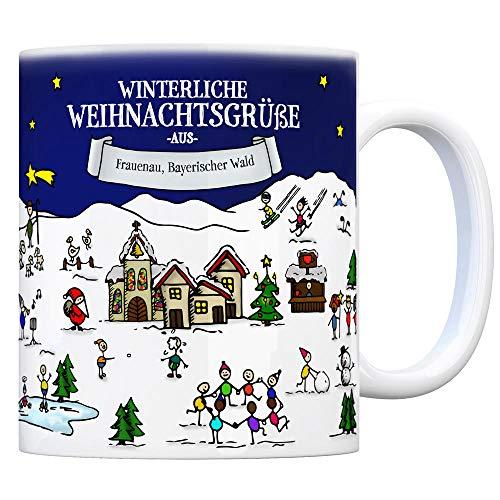 trendaffe - Frauenau Bayerischer Wald Weihnachten Kaffeebecher mit winterlichen Weihnachtsgrüßen - Tasse, Weihnachtsmarkt, Weihnachten, Rentier, Geschenkidee, Geschenk