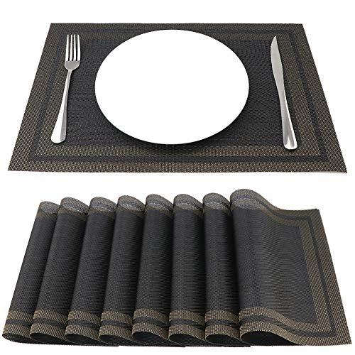 SueH Design Tovagliette Americane PVC 45 x 30cm Set 8 Pezzi Oro