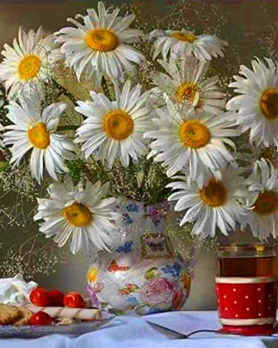 Pintura por Números para Adultos, Crisantemo blanco Kit de Pintura al óleo de Lienzo DIY para Niños con Pinceles, Pigmento Acrílico, Pintura de Dibujo DIY, 40X50 cm Sin Marco