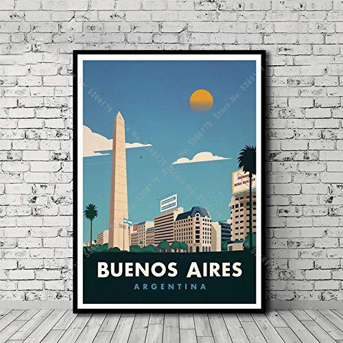 Poster Gemälde Reise Weltstadt Landschaft Buenos Aires Barcelona Poster Druck Wandkunst Leinwand Bild Wohnzimmer Wohnzimmer Dekor, Wanddekoration Poster-60X80_cm_No_Frame