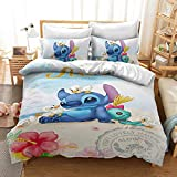 MULMF Lilo & Stitch Duvet Cover Set, 2 Piece Kids Cartoon Bed Set Bedding Including 1 Duvet Cover and 1 Pillowcases Twin Size