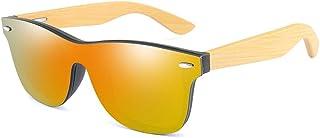 Long Keeper - Gafas de Sol de Madera Retro Vintage para Hombres y Mujeres Adulto Gafas Ligeras Sin montura con Patillas de Madera Protección Contra Rayos Ultravioleta Marco De Bambú