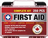Stay Prepared 250-Piece First Aid Kit: 2-in-1 for Home, Office, Camping, Car, School, Emergency,...