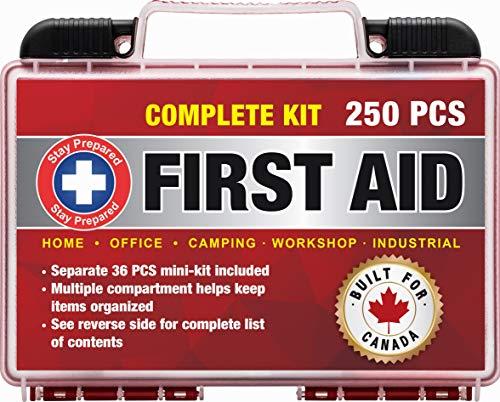Stay Prepared, Trousse de premiers secours 250 pièces: 2 en 1 pour la maison, le bureau, le camping, la voiture, l'école, les urgences, les catastrophes, les voyages, la survie dans la nature, la randonnée, le bateau, la chasse, et le sport; une trousse médicale d'aventure 2 en 1 pour situations de survie, de traumatismes, de jauge et de RCP; un paquet gratuit de 32 pièces dans un sac séparé et un marteau de sécurité.