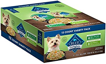 Blue Buffalo Delights Natural Adult Small Breed Wet Dog Food Cups Variety Pack, Filet Mignon Flavor in Hearty Gravy and New York Strip Flavor in Hearty Gravy 3.5-oz (12 pack- 6 of each flavor)