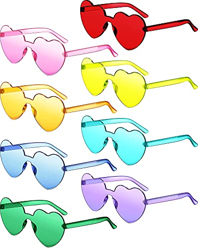 8 Pairs Rimless Sunglasses Heart Shaped Frameless Glasses Trendy Transparent Candy Color Eyewear for...