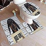 AMIGGOO Juegos de Alfombra de baño para el hogar, 3 Piezas para baño, Perro Dachshund sosteniendo una Pancarta del Departamento de Policía Bad Gi,Alfombrilla de Ducha Antideslizante Ultra Suave