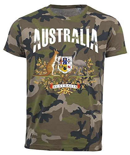 T-Shirt Australien Camouflage Army WM 2018 .- Vintage Destroy Wappen D01 (L)