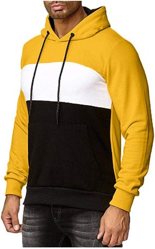 FORUU Men's Sweatshirts Hoodies Long Sleeve Warm Casual Fashion Trendy Comfy Patchwork Sweatshirt Hooded Tops Outwear