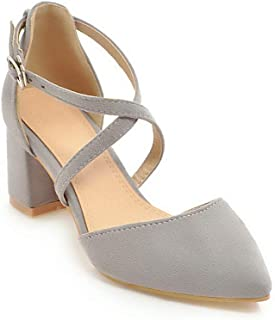 BalaMasa Womens ASL06458 Imitated Suede Block Heels