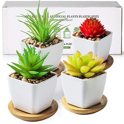 TJ.MOREE Plantas artificiales de color verde, con bandeja de bambú, perfecto para la sala de estar, dormitorio, estantería de oficina, juego de 4