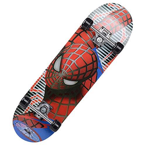 YUXIAN Patineta,60 * 15 cm monopatín de Dibujos Animados para niños Spider Man Longboard Arce Doble balancín parapatinetaInfantilSkateboarding