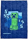 Jay Franco Minecraft SSSS Creeper Weighted Blanket 5 lbs - Measures 36 x 48 inches, Kids Bedding - Fade Resistant Super Soft Velboa (Official Minecraft Product)