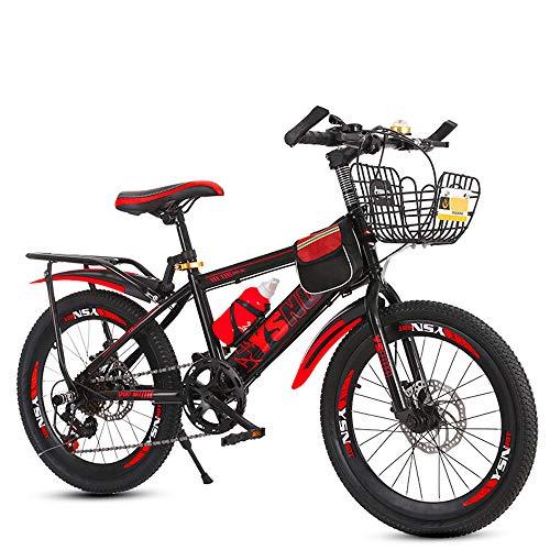 Mountain Bike per Studenti, velocità Doppio Freno A Disco per Bambini 6-13 Anni Bici Scuola Elementare per Ragazzi E Ragazze, Bicicletta per Bambini 20/22 Pollici, MTB,Rosso,22inches