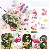 JMWJD 1個水のネイルステッカーデカール海洋生物フラミンゴ葉の転送ネイルアートの装飾スライダーマニキュア透かし箔のヒント (Color : YZW 3270)