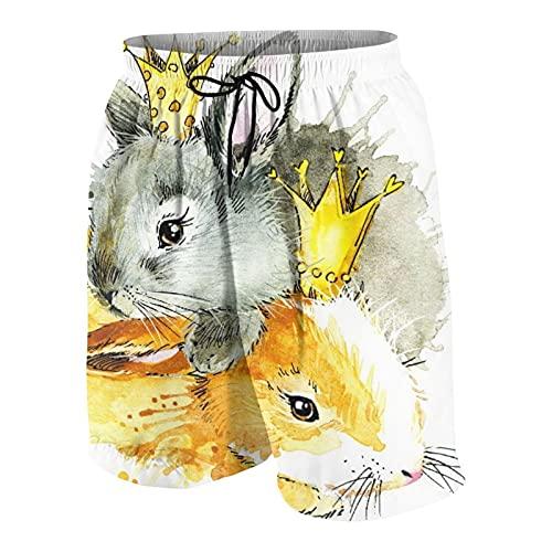 AMIGGOO Costume da Bagno da Uomo,Acquerello di Conigli Svegli del Coniglietto, Costumi da Bagno Costumi da Bagno Pantaloncini da Bagno Costumi da Bagno
