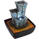 Agora-Tec Wasserspiel & Zimmerbrunnen Stonehenge mit tempelartig angeordneten Felssteinen mit LED Beleuchtung, sehr angenehmer leiser Wasserlauf 21 cm hoch