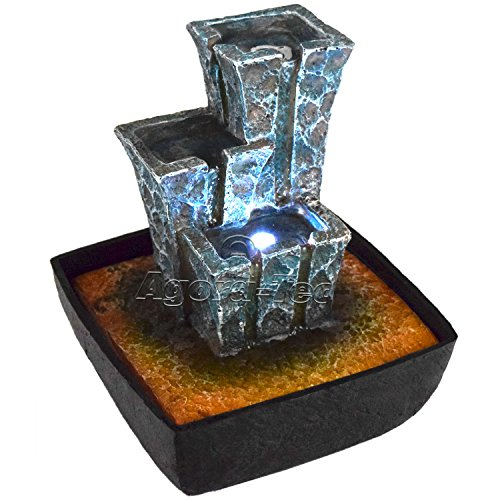 Fontaine d'intérieur Agora-Tec® modèle « Stonehenge » - Fontaine et jouet aquatique - Design en pierres assemblées en forme de temple avec éclairage LED - Cours d'eau calme et très agréable - Hauteur : 21 cm.
