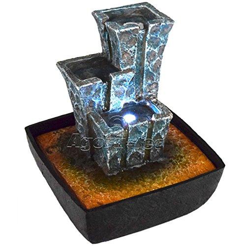 Agora-Tec® Wasserspiel & Zimmerbrunnen Stonehenge mit tempelartig angeordneten Felssteinen mit LED Beleuchtung, sehr angenehmer leiser Wasserlauf 21 cm hoch