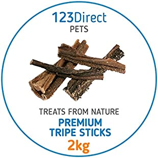 2Kg Premium Tripe Sticks For Dogs | Dried Beef Tripe Sticks Chew Raw | Not Imported From China | Sourced Directly From EU | Quality Human Grade Tripe | No Added Preservatives, Flavour Enhancers Or Chemicals | Processed Under Strict Ethical Conditions In EU Unlike Other Products | Great For Dental Hygiene Reduces Plaque & Bad Breath | Ideal For Working Dogs & Puppies | High In Protein & Irresistible | Rewarding & Real Boredom Buster