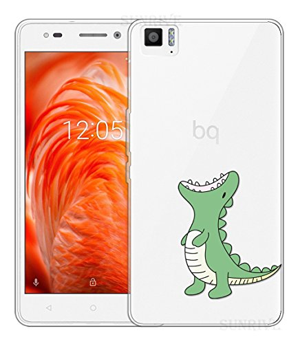 Sunrive Für BQ Aquaris M 2017 Hülle Silikon, Transparent Handyhülle Schutzhülle Etui Hülle Backcover für BQ Aquaris M 2017(TPU Dinosaurier)+Gratis Universal Eingabestift