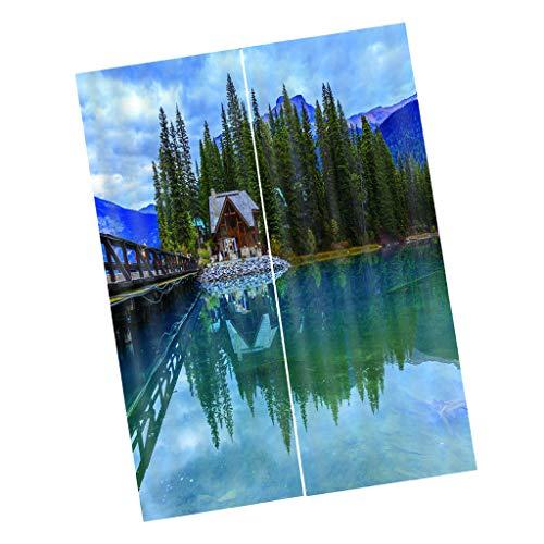 Baoblaze 2 Painéis Digitais Impressos em 3D Cortinas de - 170x200 cm-casa do lago