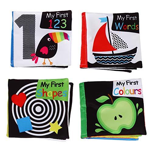 Brinquedos educativos para a primeira infância 1 conjunto de 4 unidades de livros de pano educacional para bebês Primeiros livros em inglês para bebês (cores sortidas)