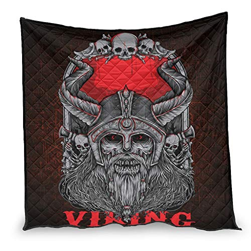 Casco vichingo Odin Guerra Guerra Teschio Asse Stampa Soffitti e lanci Regalo Soft Quilt White 100 x 150 cm