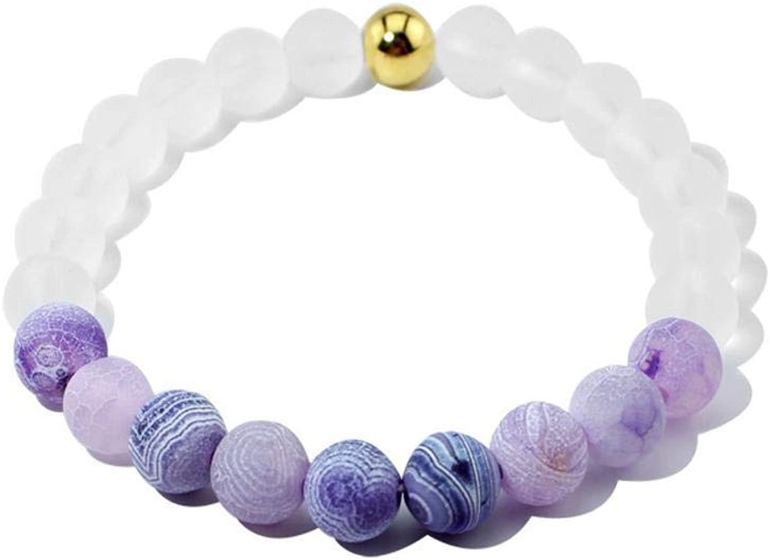 Zicue Stylish Charming Bracelet Exquisite Ornaments Natural Stone agate Bead elastic bracelet lady Fashion Gift ( color   A )
