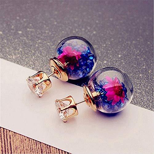 TTYJWDWY-Pendientes de Moda y Bonitos, Elegantes y exquisitas Flores de Cristal de circón para niñas, Pendientes de Bola de Cristal de Doble Cara-Azul Oscuro