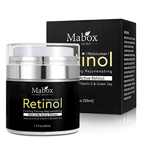 Anself 50ml Crema Facial Retinol 2.5% Hidratante Ácido Hialurónico Antiaging Eliminar Arrugas Vitamina E Colágeno Crema Blanqueadora Suave
