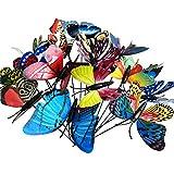 Estacas decorativas para jardín, 50 piezas (8 cm de ancho x 10 de altura), adornos de mariposas 3D, impermeables, de PVC, para interiores y exteriores, patio, maceta, cama de flores, decoración de...