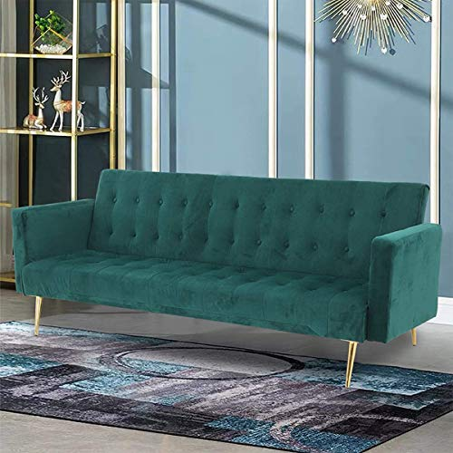 Trintion Sofa Bed 3 Seater Click Clack Sofabed Velvet Folding Sofas Couch Recliner Settee for Living Room, Guest Room, Bedroom Classic Green