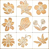 Konsait 9pack Large Flower Stencil Template,Reusable Plastic Painting DIY Craft Templates,Flower Decor for Wood Window Glass Greeting Card,Cookies, Cake,Biscuit,Dessert,Bread,Coffee Decor