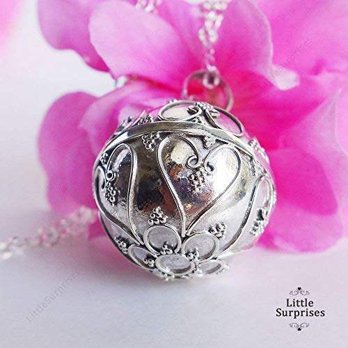 "20mm Large Filigree Heart Harmony Ball Sterling Silver Pendant Pregnancy Necklace 36"" Chain LS78"