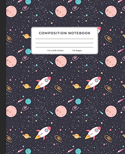 Composition Notebook: Outer Space, Shooting Stars, Planets, Rockets, Astronomy, Cosmology 7.5