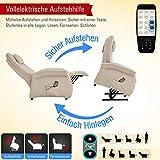 THRONER EXKLUSIV Massagesessel (Schlafsessel) mit elektrischer Aufstehhilfe und 5-Punktmassage in Hellbeige, Made in Germany - 3