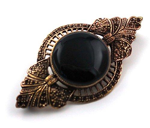 Bronze Semi Precious Stone Pins and Brooches Norse Irish Celtic Knot Vintage Thailand Jewelry (Black Onyx V.2)