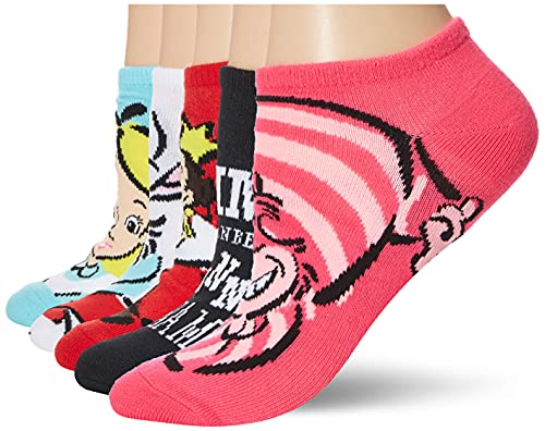 Disney womens Alice in Wonderland 5 Pack No Show Casual Sock, Assorted Bright, 9/11 US