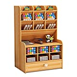 Marbrasse Wooden Pencil Holder, Pen Organizer for Desk with 15 Compartments + Drawer, Desktop Stationary Organizer Caddy, Easy Assembly, Home Office Art Supply Organizer Storage (Cherry Color)