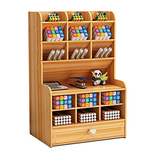 Marbrasse Upgraded Wooden Pencil Holder, Pen Organizer for Desk with 15 Compartments + Drawer, Desktop Stationary Organizer Caddy, Easy Assembly (Cherry Color)
