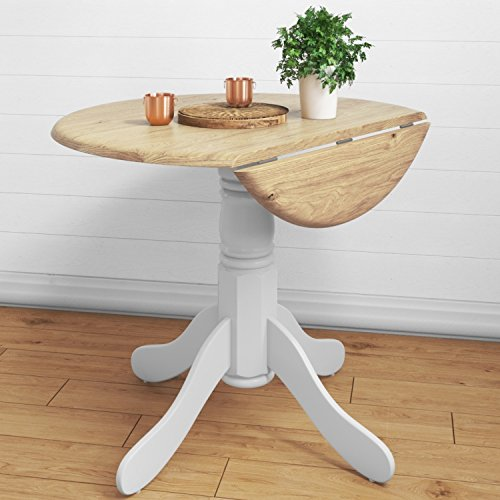 Rhode Island Small Round Drop Leaf Table in White & Wood - 2 Seater