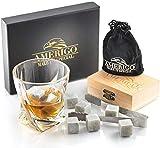 Amerigo Ensemble de Cadeaux Pierre a Whisky Glacon Reutilisable - Cadeau Homme - Whisky Stones Gift Set - Glacon Pierre Whisky Granit - Whisky Pierres - Pinces en Acier et 2 sous-Verres