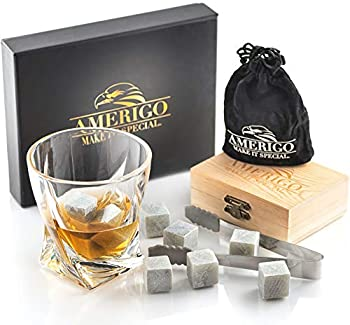 Luxury Whiskey Stones Gift Set - Set of 9 Whiskey Rocks - Reusable Ice Cubes for Drinks - Great Whiskey Gift for Man - Handcrafted Whisky Stones Set - Chilling Stones + Ice Tongs + 2 Classy Coasters