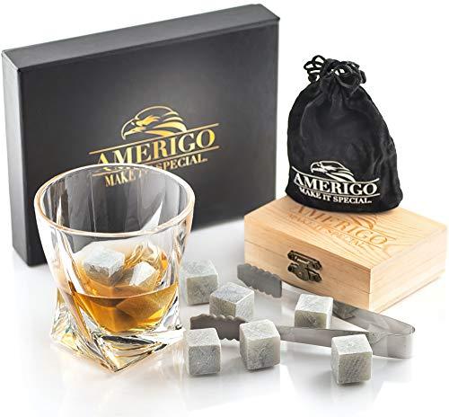 Amerigo Luxus Whisky Steine Geschenkset Set von Eiswürfel Wiederverwendbar - Geschenkset Männer - Whisky Kühlsteine - Whiskey Stones - Geschenk für ihn mit Edelstahl Zange und Untersetzer
