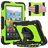 Timecity Case for Fire HD 8 Plus Tablet/ Fire HD 8 Case (10th Generation, 2020 Release), Protective Case with Built-in Screen Protector & Kickstand&Hand Strap Shoulder Strap Cover - Green