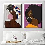 cuadros decoracion salon Imágenes Arte de pared Decoración Pintura en lienzo Póster Chica soplando burbujas Póster e impresiones pinturas Póster de mujeres para sala de estar 23.6x31.5in (60x80cm) x2