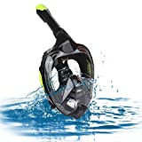 Zacro Snorkeling Mask Original Newest One-way Respiratory System Full Face Breathing Design 180° View Foldable Snorkeling Mask with Dry Top Set Anti-Fog Anti-Leak for Adult