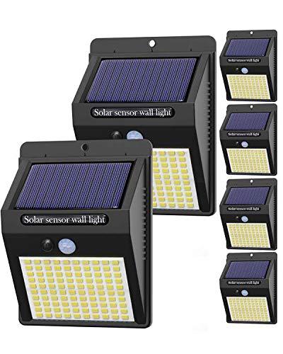 Hepside Luz Solar Exterior,【6 Pack / 3 Modos】Luces LED Solares para Exteriores, 800 Lumens Focos LED Exterior Solares, Luces de Seguridad Inalámbricas a Prueba de Agua para el garaje del Jardín Camino